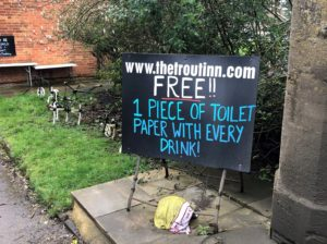 FREE!! 1 Piece of toilet paper with every drink!